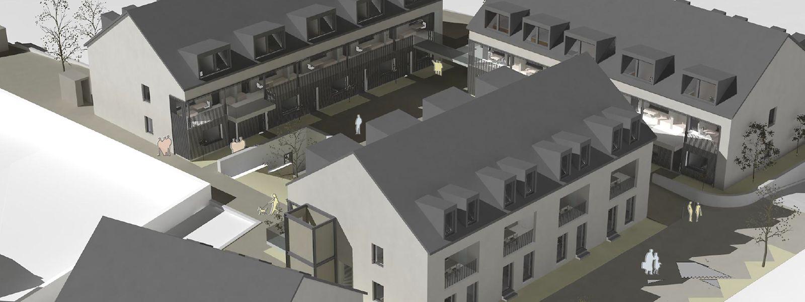 Die vier Wohnblöcke mit Tiefgarage gruppieren sich um einen Innenhof. Der untere Block besteht aus drei Reihenhäusern, der Rest sind Wohnungen.