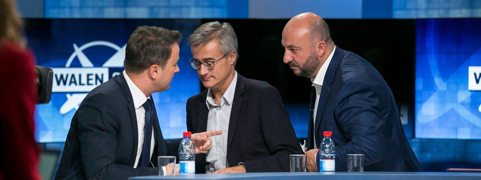 Haben zwar gemeinsam nur eine knappe Majorität, dürften sich aber für eine Neuauflage von Gambia entscheiden: Xavier Bettel, Felix Braz und Etienne Schneider bei der Elefentenrunde von RTL.