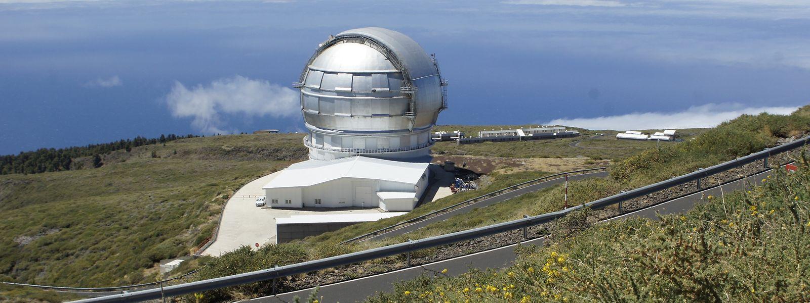 Das Gran Telescopio Canarias (GTC) auf dem Roque de Los Muchachos. Mit 10,4 Meter Durchmesser handelt es sich seit 2007 um das größte optische Infrarot-Spiegelteleskop der Welt.