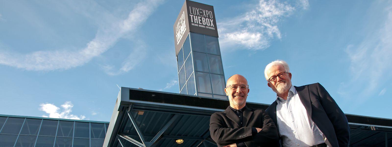 Pour Morgan Gromy et Raymond Schadeck, directeur et président du conseil d'administration de Luxexpo The Box, l'avenir du centre de congrès et d'expositions passera par la «verticalité».