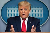 US President Donald Trump speaks during the daily briefing on the novel coronavirus, which causes COVID-19, in the Brady Briefing Room at the White House on April 9, 2020, in Washington, DC. (Photo by JIM WATSON / AFP)