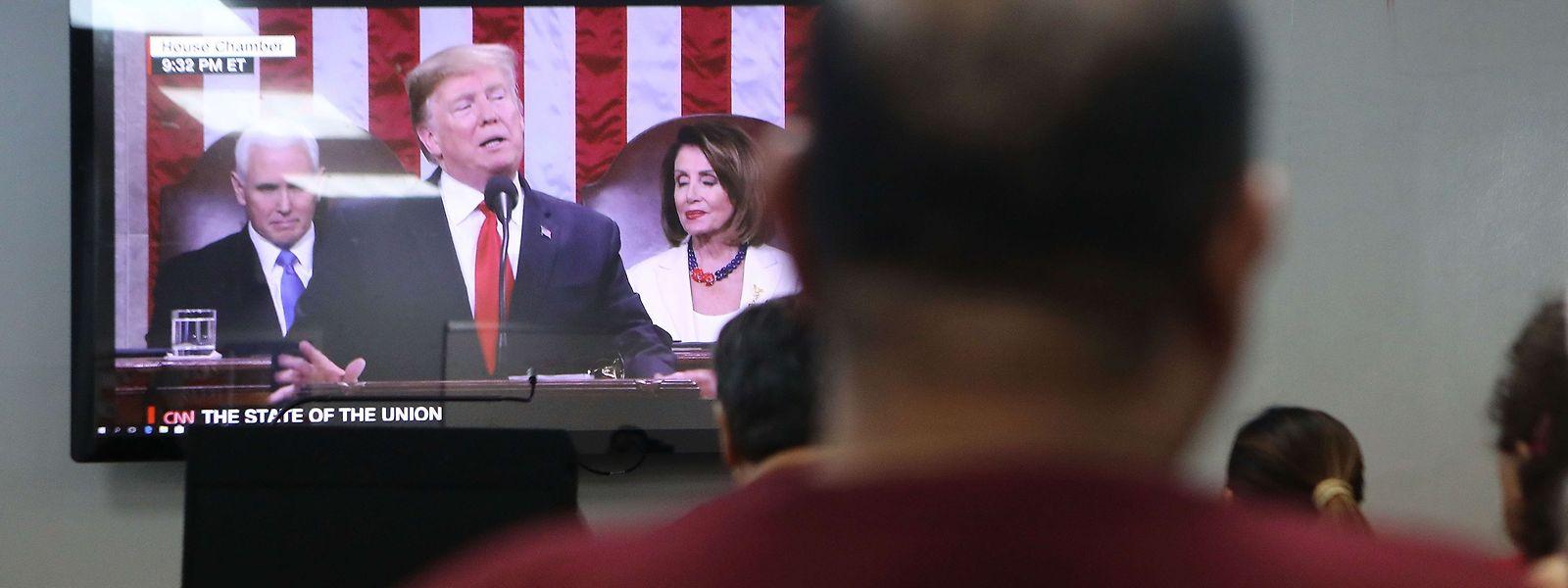 Donald Trumps Rede zur Lage der Nation wurde auf insgesamt zwölf Fernsehkanälen vor einem Millionenpublikum übertragen.