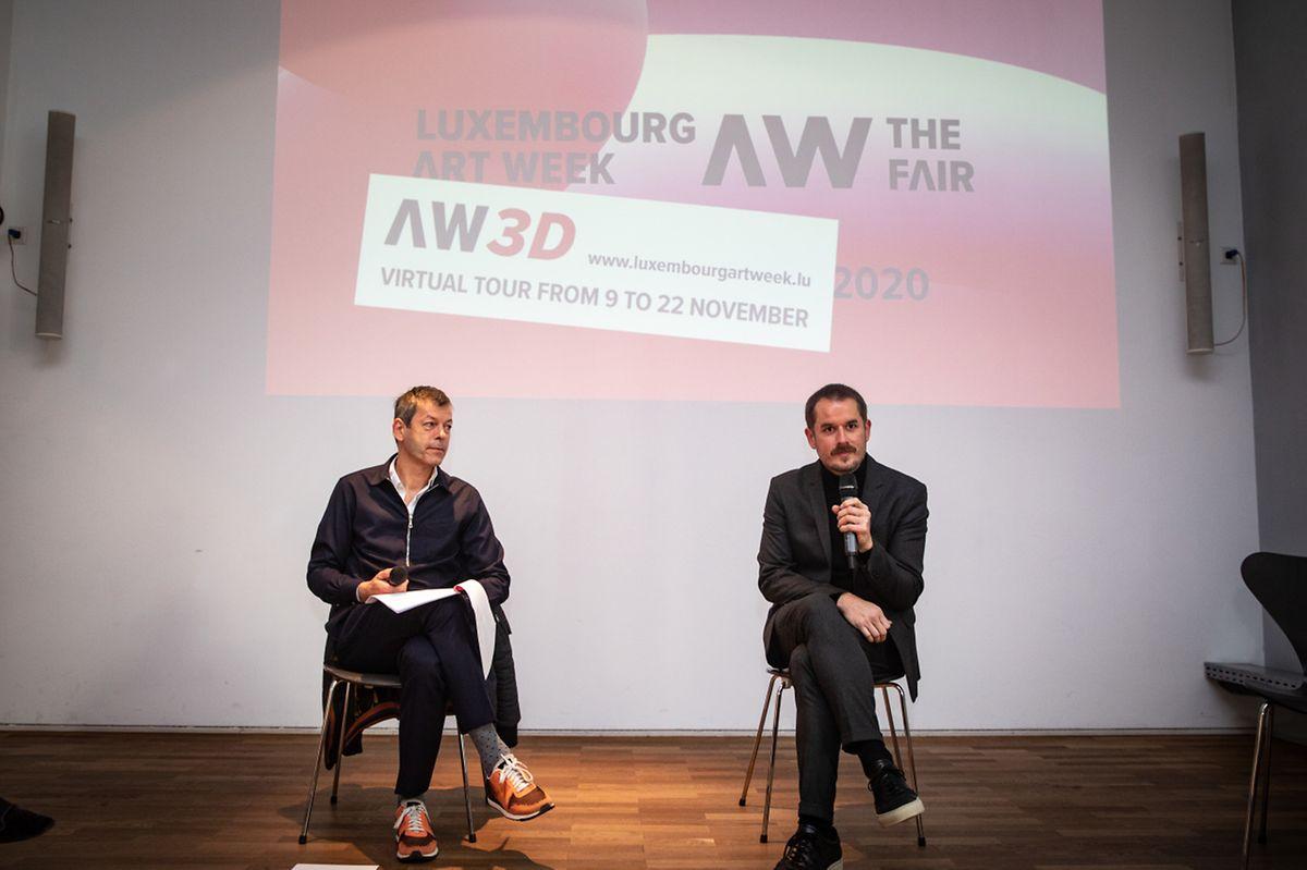 Alex Reding, le directeur de la «Luxembourg Art Week» et Kevin Muhlen le directeur du Casino Luxembourg (à d.).