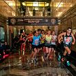 TOPSHOT - The men competitors leave the starting line during the 2019 Empire State Building Run Up on May 14, 2019. (Photo by Don Emmert / AFP)