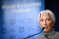 International Monetary Fund (IMF) Managing Director Christine Lagarde gives a press conference on IMF World Economic Outlook ahead of the World Economic Forum (WEF) annual meeting on January 21, 2019 in Davos, eastern Switzerland. (Photo by Fabrice COFFRINI / AFP)