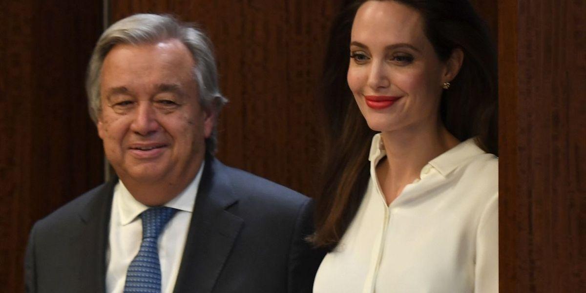 Paralelamente aos encontros relacionados com os crimes sexuais, Guterres também se encontrou com Angelina Jolie, embaixadora da Boa Vontade das Nações Unidas