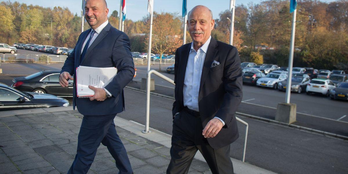 Etienne Schneider, ministre de l'Economie (à gauche), et Jeremy Rifkin, théoricien de l'économie et activiste de l'économie durable, sont arrivés ensemble, mardi matin, à Luxexpo à Luxembourg-Kirchberg.