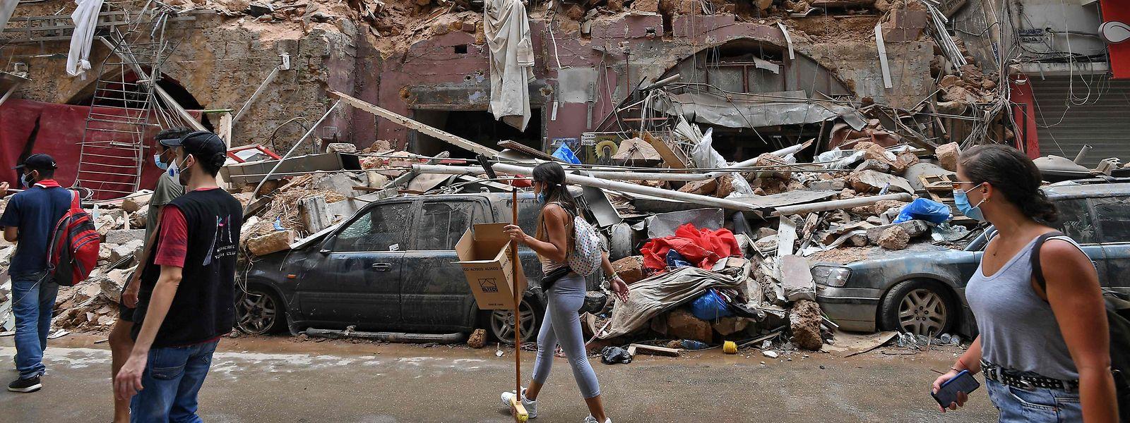 Die Innenstadt von Beirut wurde in ein Trümmerfeld verwandelt.
