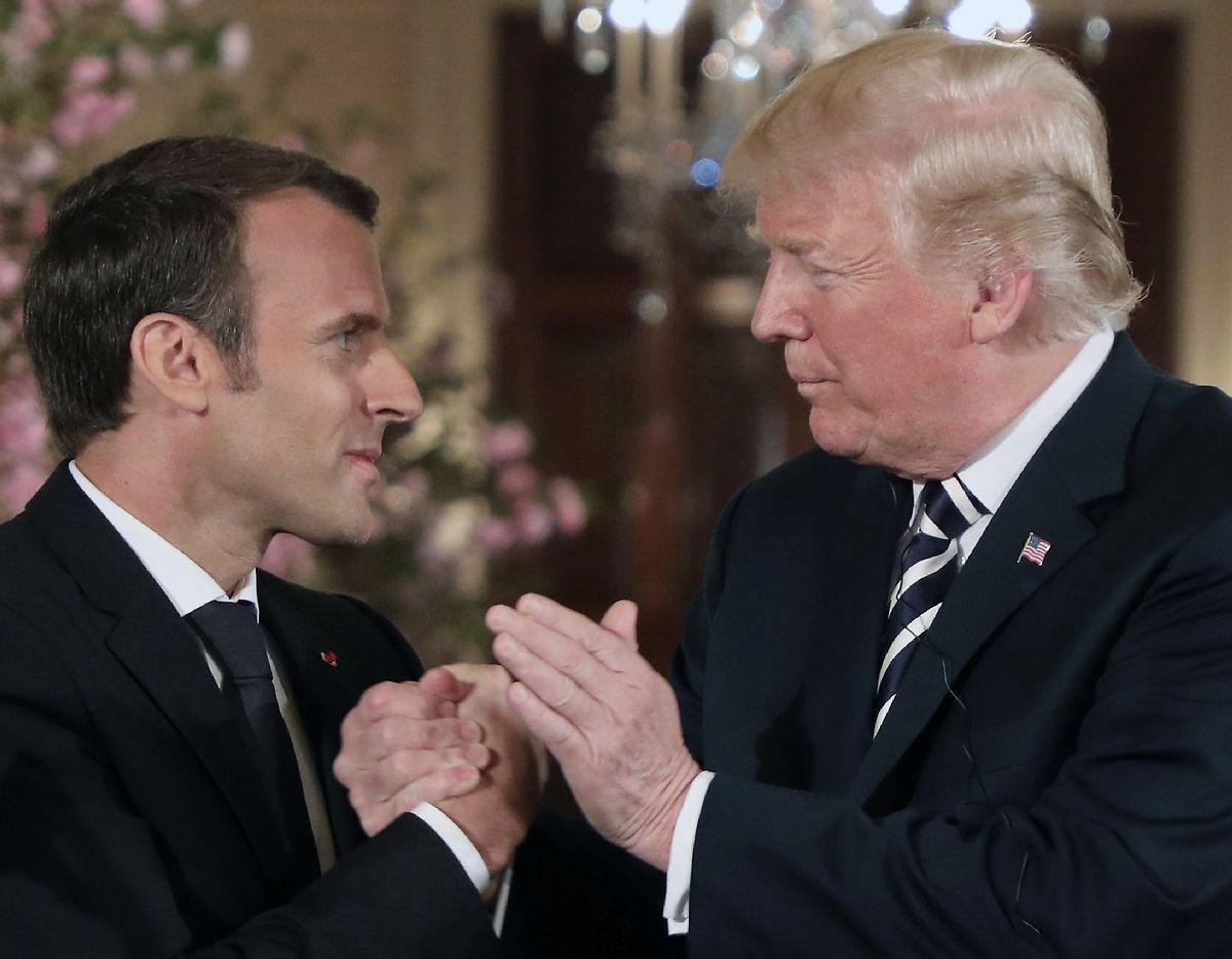 Emmanuel Macron e Donald Trump na Casa Branca.
