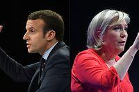 Laut Umfragen liegt Marine Le Pen (r.) im ersten Wahlgang derzeit knapp vor Amtsinhaber Emmanuel Macron.Hier ein Archivfoto aus dem Präsidentschaftswahlkampf von 2017.