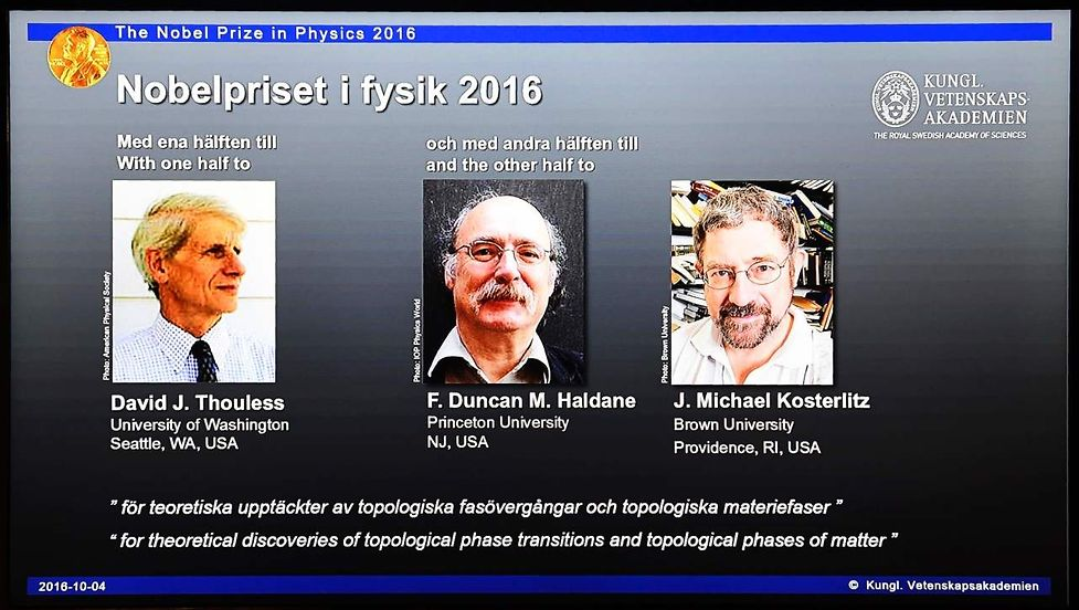 Winners of the Nobel Prize in Physics (L-R) David J Thouless, F Duncan M Haldane and J Michael Kosterlitz