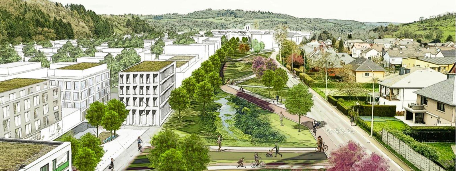 Un des impacts du réaménagement voulu pour les 5 communes de la Nordstad serait notamment le déplacement de la ligne ferroviaire et de la N7 au pied du Goldknapp.