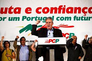 O secretário geral Partido Comunista Português (PCP), Jerónimo de Sousa, durante o comício no Barreiro