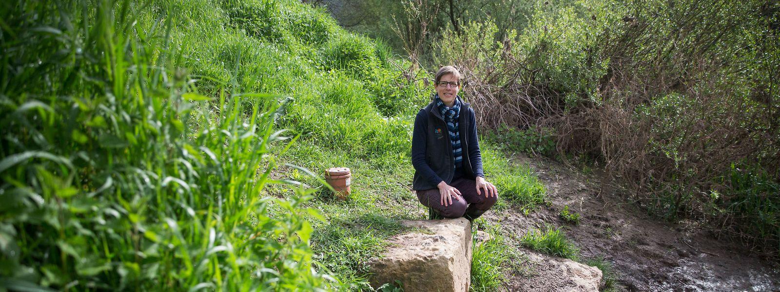 Birgit Kausch, die Geologin des Naturpark Mëllerdall, kennt die Salzquellen.
