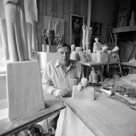 Charles Kohl dans son atelier à Bonnevoie (vers 1996, le cliché n'est pas daté).