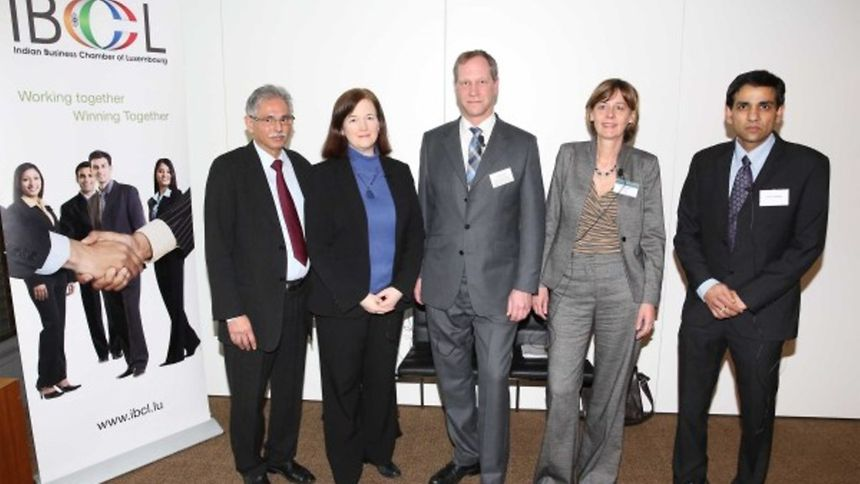 From left: IBCL President Sudhir Kohli, Michele Woods, Director of copyright law division at the World Intellectual Property Organization in Geneva, Lex Kaufhold, Director of the Intellectual Property Office at the Ministry of Economy, Katia Manhaeve, Partner at Allen & Overy and Aditya Sharma of IBCL