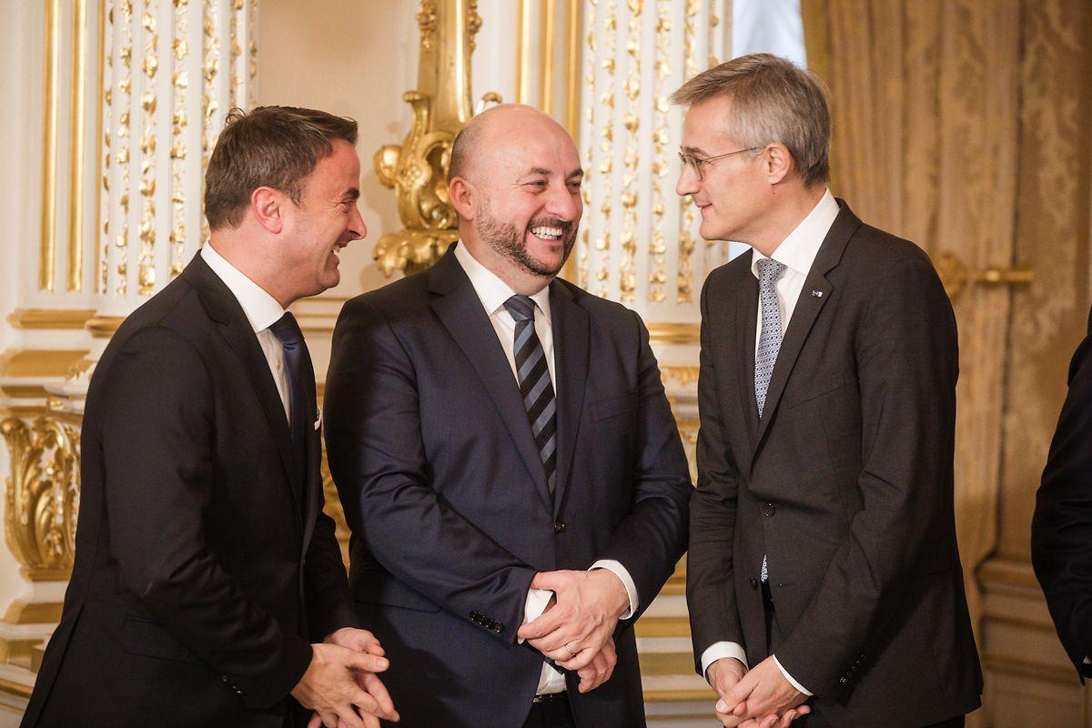 Das Führungstrio von Blau-Rot-Grün II: Xavier Bettel (DP), Etienne Schneider (LSAP) und Felix Braz (Déi Gréng).