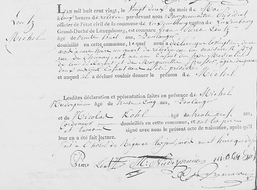 Image of an official Luxembourg birth certificate, one of thousands available on the Luxroots website