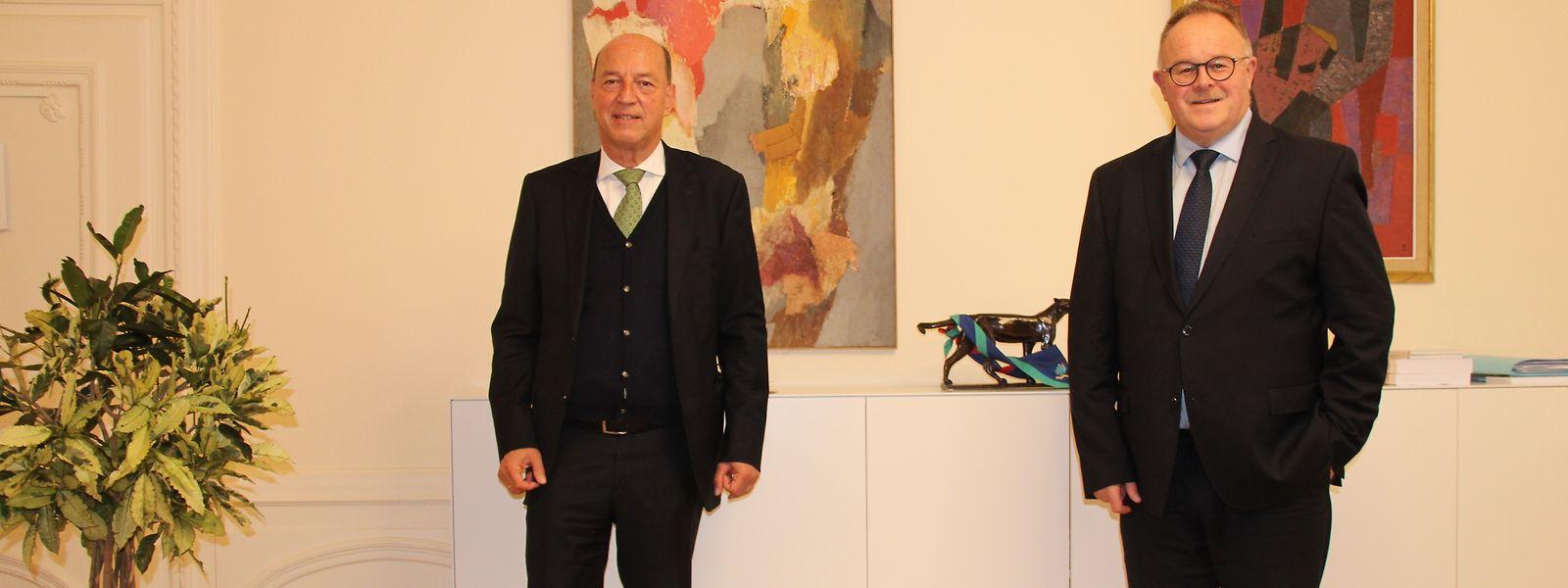 Minister Romain Schneider zusammen mit Botschafter Ullrich Wilhelm Klöckner.