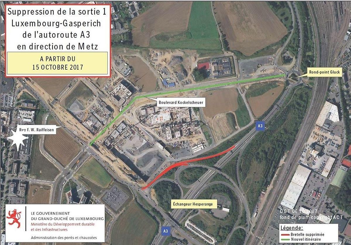 La bretelle sera supprimée (en rouge) au profit du nouveau boulevard Kockelscheur (en vert).