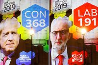 TOPSHOT - The broadcaster's exit poll results projected on the outside of the BBC building in London shows Britain's Prime Minister Boris Johnson's Conservative Party predicted to win 368 seats and a majority (L) and Jeremy Corbyn's opposition Labour Party to win 191 seats, as the ballots begin to be counted in the general election on December 12, 2019. (Photo by Tolga Akmen / AFP)