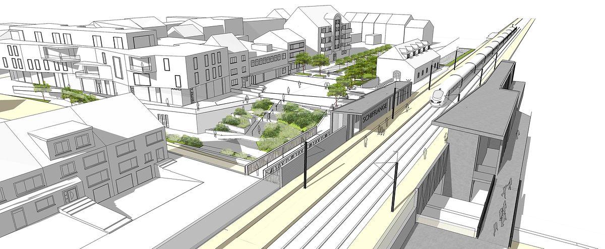 Die neue Rue de Drusenheim wird unter der Zughaltestelle durchführen.