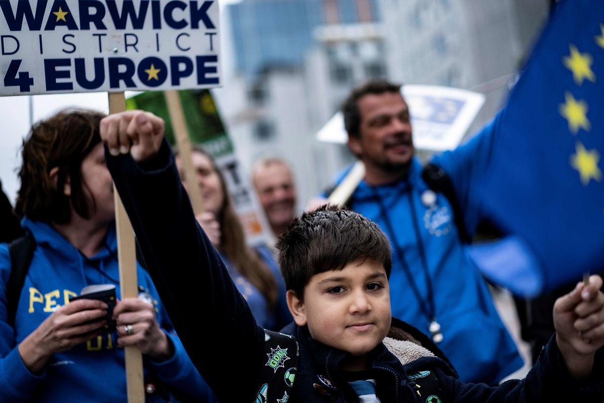 Les anti-Brexit dans les rues de Bruxelles.