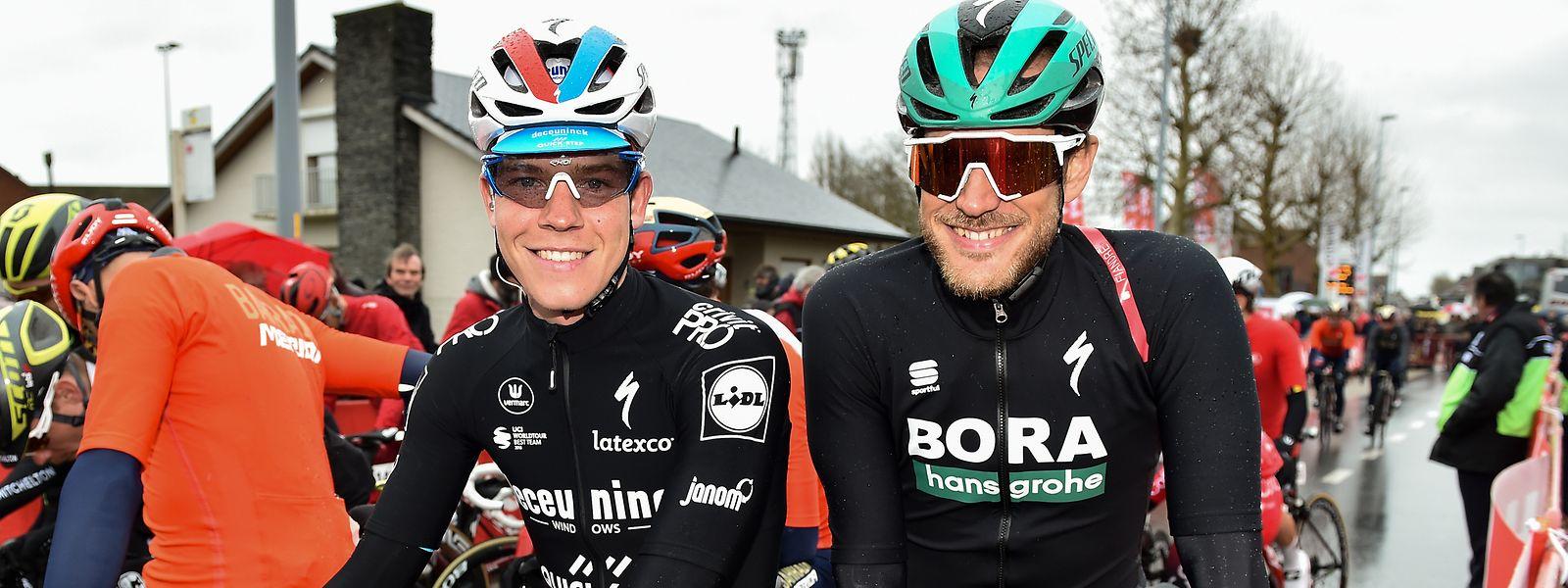 Bob Jungels et Jempy Drucker tout sourire avant le départ de Kuurne-Bruxelles-Kuurne.