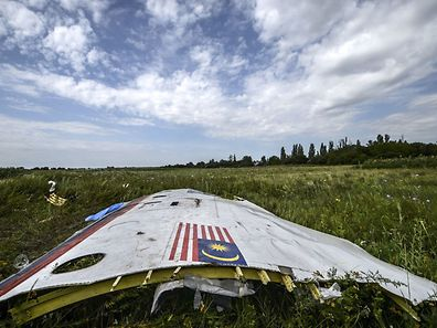 July 20, 2014, photo shows a piece of the wreckage of the Malaysia Airlines flight MH17 lying in a field near the village of Grabove, in the region of Donetsk.