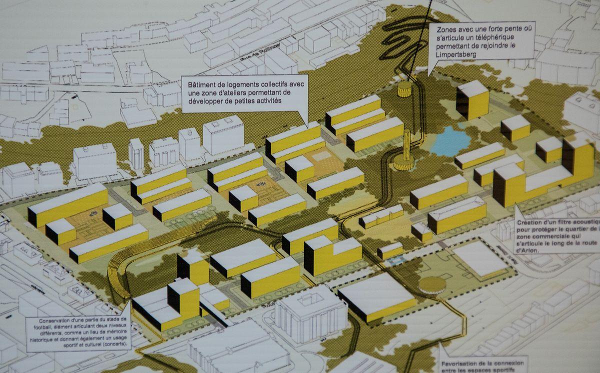 L'un des sept projets de reconversion présenté au Biergercenter en janvier 2020.