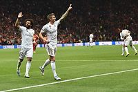 Real Madrid's German midfielder Toni Kroos (R) celebrates with Real Madrid's Brazilian defender Marcelo (L) after he scored a goal during the UEFA Champions League group A football match between Galatasaray and Real Madrid on October 22, 2019 at the Ali Sami Yen Spor Kompleksi in Istanbul. (Photo by OZAN KOSE / AFP)