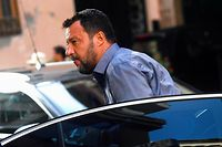 Far-right Interior Minister Matteo Salvini arrives for a meeting with Lega party members in central Rome on August 12, 2019. - Italy is to recall the Senate on August 13 to vote on a timetable to manage the crisis sparked by far-right leader Matteo Salvini pulling the plug on the ruling populist coalition. The announcement came after the heads of party groupings in the Senate failed to unanimously agree on a timeline in talks on August 12 after Salvini last week said the coalition government between his League and the anti-establishment Five Star Movement (M5S) was no longer working. (Photo by Filippo MONTEFORTE / AFP)