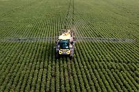 A soybean field is fumigated near Urdinarrain, Entre Rios province, Argentina, on February 8, 2018. - Soybean fields in Argentina are often fumigated with glyphosate, a herbicide which is probably carcinogenic according to the World Health Organization (WHO), but which is needed to maintain crops of transgenic seeds. The first trial for the possible effects of Round Up -Monsanto's polemic herbicide containing gliphosate- starts on July 9 in the US. (Photo by IVAN PISARENKO / AFP)        (Photo credit should read IVAN PISARENKO/AFP/Getty Images)