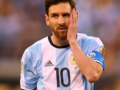 Lionel Messi #10 of Argentina looks on against Chile during the Copa America Centenario Championship match at MetLife Stadium on June 26