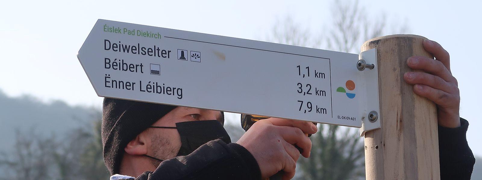 Die neuen Wegweiser sind dem nationalen Design Luxembourg for Tourism angepasst. Rund 2.000 davon werden bis Juni auf den überarbeiteten Wanderwegen im ganzen Ösling installiert.
