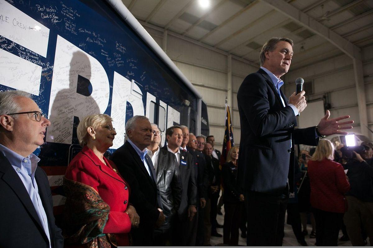 Die republikanischen Kandidaten, wie hier David Perdue, fühlen sich im Aufwind.