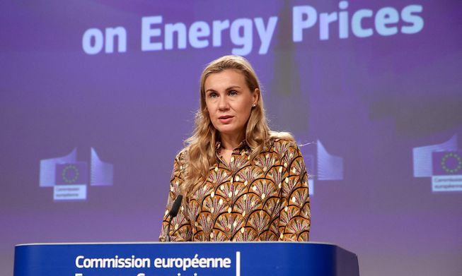 EU Commissioner for Energy Kadri Simson holds a press conference in Brussels on Wednesday