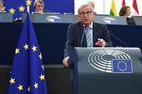"European Commission President Jean-Claude Juncker delivers a speech at the European Parliament on October 22, 2019, in Strasbourg, eastern France. - European Commission President Jean-Claude Juncker said that the EU had done ""all in our power"" to ensure an orderly Brexit, but said the bloc would await British parliamentary approval for a new divorce deal before ratifying it. Juncker who started his tenure as EU President in 2014, will step down from his position on October 31, 2019. (Photo by FREDERICK FLORIN / AFP)"