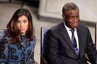 Nadia Murad, ex-esclave des jihadistes devenue porte-drapeau de sa minorité et le Dr Denis Mukwege, «l'homme qui répare les femmes», au moment de recevoir le Prix Nobel de la paix. Ils seront tous deux au Luxembourg aujourd'hui.