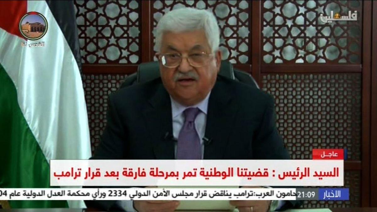 O Presidente da Autoridade Palestiniana, Mahmoud Abbas, numa imagem retirada da televisão.