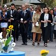Catalan regional president Quim Torra (2L) and Mayor of Barcelona Ada Colau (2R) arrive to lay flowers to pay tribute to the victims of last year's terror attack at the Las Ramblas in Barcelona on August 17, 2018 in Barcelona, during a ceremony marking first anniversary of attacks in Barcelona and Cambrils that left 16 people dead. - A van rammed into crowds on Las Ramblas boulevard in the heart of Barcelona on August 17, 2017, igniting four days of terror which investigators are still trying to explain and the survivors to overcome. (Photo by LLUIS GENE / AFP)