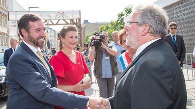 Der erste Bürger des Landes Mars di Bartholomeo begrüßte das Prinzenpaar in Esch.