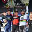 Das Podium von Gent-Wevelgem: 2. Jens Keukeleire (B/Orica-Scott), 1. Greg Van Avermaet (B/BMC Racing Team) und 3. Peter Sagan (SVK/Bora-Hansgrohe) - Foto: Serge Waldbillig