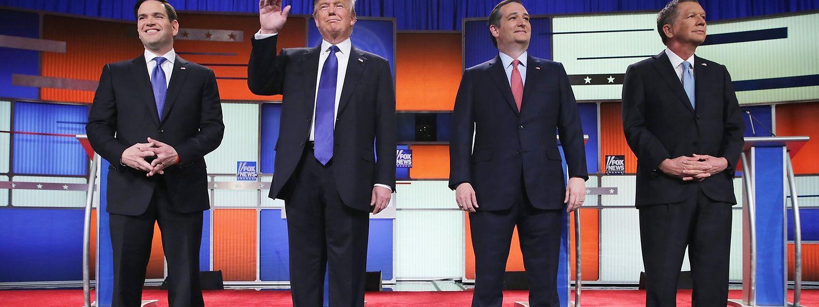 An der Debatte nahmen teil (v.l.n.r.) Marco Rubio, Donald Trump, Ted Cruz und John Kasich.