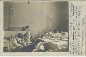 Kriegsverwundete aus dem Ersten Weltkrieg (ein Bild vom Kriegslazarett aus Freiburg).