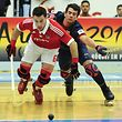 Benfica's Esteban Abalos (L) vies for the ball with Barcelona's Pablo Alvarez (R) during Euroleague Men-Final Four Rink-Hockey semi-finals match at Dragao Caixa sports pavilion in Porto, Portugal, 01 June 2013. FERNANDO VELUDO / LUSA