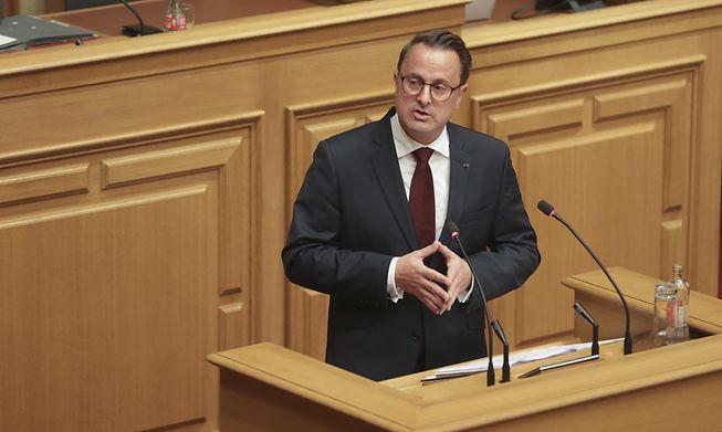Prime Minister Xavier Bettel addressing parliament on Tuesday