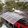 """A general view shows the red carpet before the opening ceremony and the screening of """"Midnight in Paris"""" presented out-of-competition at the 64th Cannes Film Festival on May 11, 2011 in Cannes. AFP PHOTO POOL / VIRGINIA MAYO / AFP PHOTO / POOL / VIRGINIA MAYO"""