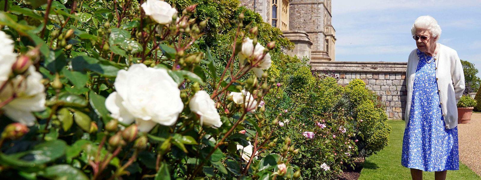 Die 95-jährige Königin Elizabeth in den Gärten von Schloss Windsor.