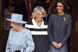 Königin Elizabeth II. und Camilla, Herzogin von Cornwall unterstützen Catherine, Herzogin von Cambridge. Foto: Kerim Okten